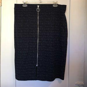 Maeve box plaid pencil skirt in navy